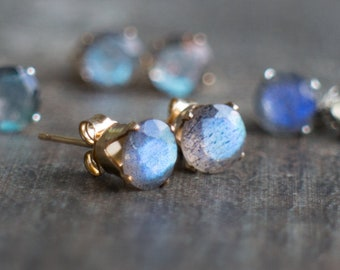 Labradorite Stud Earrings, Gift for Women, Gift for Her, Blue Labradorite Ear Studs, Gold, Gemstone Earrings Studs, Labradorite Jewelry