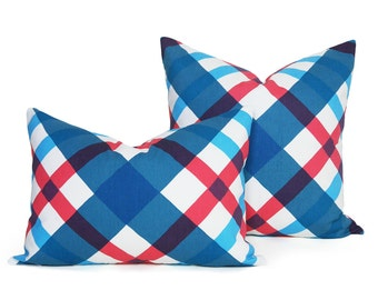 Blue Red Pillow Covers, Teen Throw Pillows, Red White Blue Pillow, Blue Pillows 20x20, Argyle Pillow, Blue Decorative Pillows, 14x20 SALE
