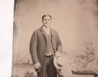 Tintype Photograph of a Man with a Hat and Watch Chain, Antique from the 1800s, #TT25