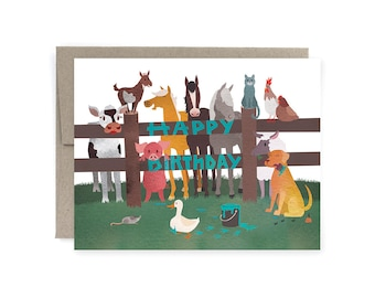 Farm Animals Cute Illustrated Birthday Card