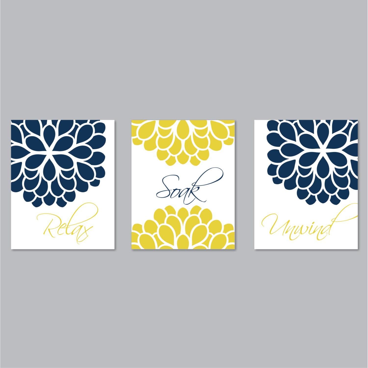 Floral Relax Soak Unwind Print Trio. Bathroom Home Decor Wall.