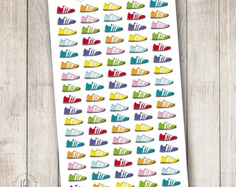 Running Shoes Planner Stickers, Fitness Exercise Tracker, Perfect for Erin Condren, Limelife, Mambi and Plum Paper Planners