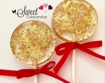 Glittery  Gold Lollipops- Hard Candy Lollipops- Party- Birthday- Wedding- Bridal Shower- Baby shower