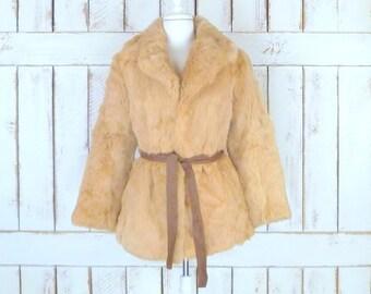 Blonde rabbit fur vintage Mark Lesli coat jacket/strawberry blonde/beige brown fur coat/belted fur jacket