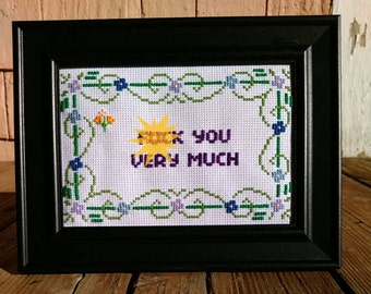 F@ck you very much framed cross stitch
