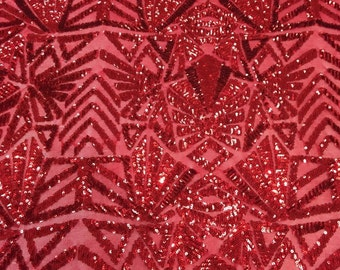 """Sequin Fabric Red 4 way Stretch Snowflake  Geometric Shinny Sequin Sold fabric by the yard 55"""" Wide"""