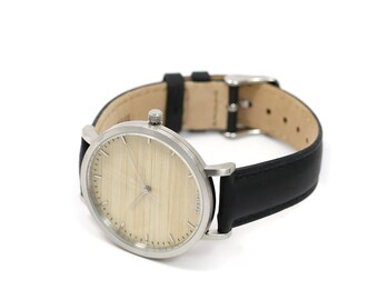 Personalized Watch For Men, Cottonwood & Brushed Silver Watch, Black Leather Strap - CSTM-HELM-CTS