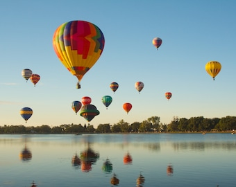 Hot Air Balloons Reflecting on Lake  (multiple sizes available)
