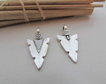 4 charm arrow 30 x 16 mm Sterling Silver - 3 mm hole - 426.22