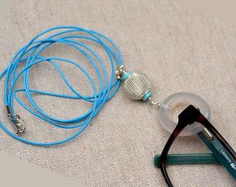 Eyeglass Holder Necklace.  White Onyx Loop Pendant. Ring Lanyard.  Glasses Holder. Turquoise Leather Glasses Lanyard - Necklace .
