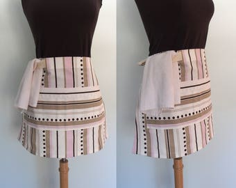 Pink and Brown Striped Half Apron, Pink Stripe Waist Apron with Pocket and Towel Loop, Waitress Apron, Restaurant Server Apron, Canvas Apron