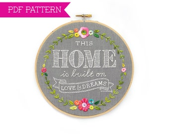 PDF Pattern, Embroidery Pattern, Housewarming Gift, Hand Embroidery, Embroidery Hoop, Home Embroidery Design, Embroidery Hoop Wall Art