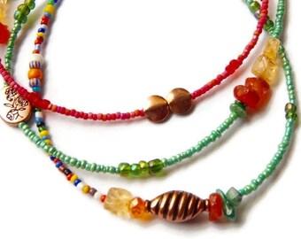 African Waist Beads, Oshun Waist Beads With Carnelian, Copper and Brass Beads, Orisha Waist Beads, Goddess Beads,  African accessories,