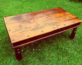 Lord of the Rings Tolkien Middle Earth Map Handmade Large Rustic Coffee Table Wood Burned Pyrography LOTR Map Wood Table Home Wedding Gift