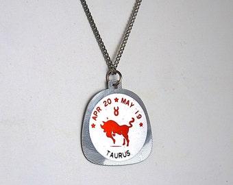 Taurus Horoscope Vintage Horoscope Necklace The Bull Horoscope 1960's Horoscope Pendant