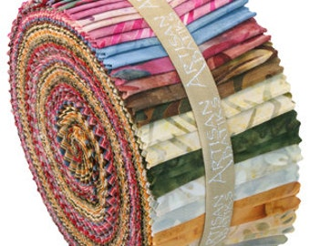 Kaufma roll ups in golds, maroons, moss green and other earthy colors.
