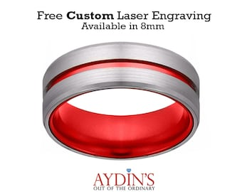 Tungsten Ring, Wedding Band Men, Silver And Red Tungsten, Scarlet Red, Beveled Edge, Tungsten Wedding Band