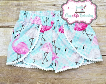 Flamingo Shorts, Summer Shorts, Beach Shorts, Luau Shorts, Pom Pom Shorts
