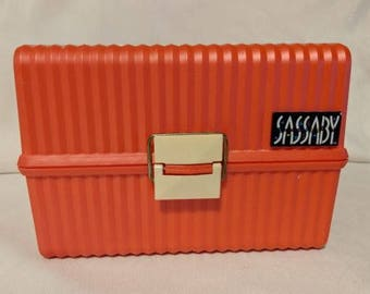 Sassaby Vintage Make Up Train Case Craft Organizer Reddish Orange Plastic Case With Mirror 80s