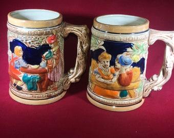 Pair of Vintage Ceramic Beer Steins from 1970 Made in Japan.