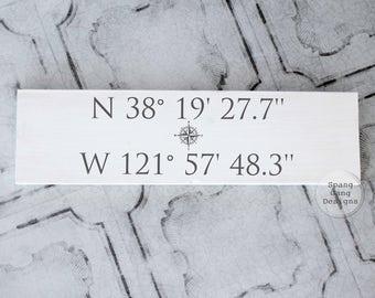 GPS sign | coordinates sign | address sign | custom coordinates | wedding shower gift | compass rose GPS coordinates latitude longitude sign