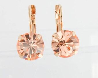 Peach earrings,peach weddings,peach bridesmaid earrings,peach wedding jewelry,rose gold peach,gold earrings,rose gold earrings,11mm earrings