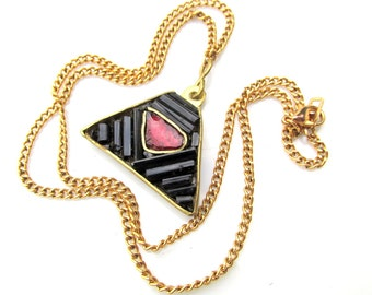 Black Tourmaline Crystal Pendant with Garnet Chip and Brass on Gold Chain - Handmade Necklace