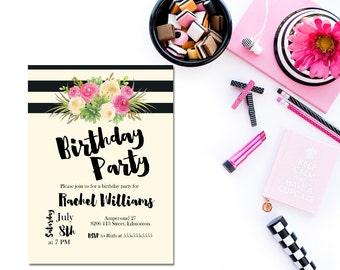 Printable female birthday invitation / watercolor flower birthday invitation / printable birthday invitation / adult 30th birthday