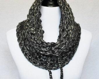SALE! Black and Gray Crochet Cowl, Chunky Infinity Scarf, Drawstring Neck Warmer, Gathered Collar Scarf