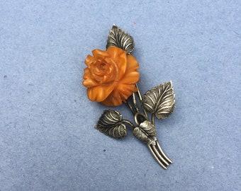 Vintage brooch, Orange Rose brooch, resin rose, silvertone metal leaves, vintage item, brooch pin back, rose broach, flower brooch