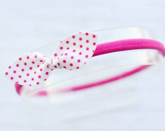 Polka dot knotted bow headband for girl || hot pink polka dot bow headband for baby || knot bow headband for girls || spring bow headband