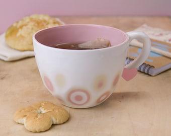 Porcelain mug coffee tea - unique handmade textured modern giant cup .