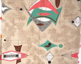 Atomic Retro Googie Barkcloth Fabric Pink Brown Green Franciscan Starburst Boomerang Barkcloth Bark Cloth