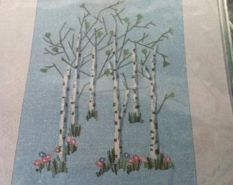 Vogart Crafts Crewel Stitch Kit, Unused Vintage Birch Trees DIY Kit, 1975 Trees & Flowers Crewel Kit
