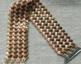 Bracelet pink half tila beads and bronze 18cm