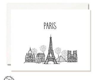 Paris Black and White Illustration Card - Handmade - Set of 10 - A2 Blank