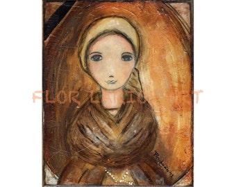 Saint Bernadette - Drucken von Original Mischtechnik Folk Art Painting von FLOR LARIOS (6 x 8 Zoll)