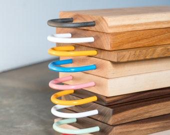 Cutting board, cheese board, wood and metal