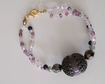 Grey and purple bracelet