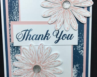 Thank You card, daisies, pink and blue