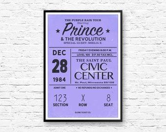 Prince Poster, Purple Rain Poster, Prince, Purple Rain Tour, Pop Art, American Print, Prince Memoribilia