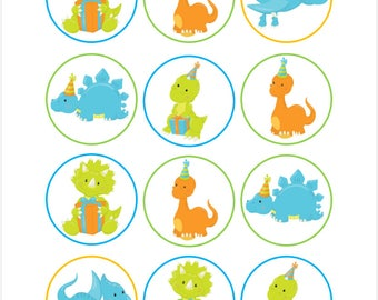 Edible Dinosaur Birthday Cupcake Cookie Toppers