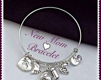 New Mom Charm Bracelet, Grandma Bangle Charm Bracelet, Personalized Silver Mom Charm Bracelet, New Mom Baby Shower Gift, Mothers Day Gift