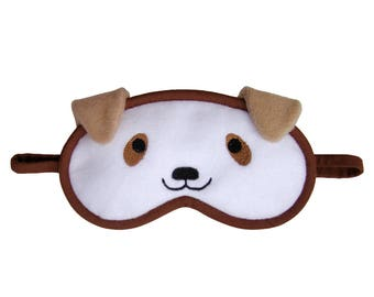 Dog Sleep Mask, Animal eye mask, Kawaii puppy sleeping eyemask, Cosplay costume, Cute gift for her, Cotton or silk satin back, Gift under 20