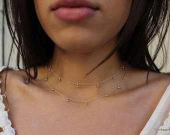 two layered dainty charm choker necklace,dangle choker,gold choker,silver choker,dangling choker,dainty Layering Necklace,Drop Choker