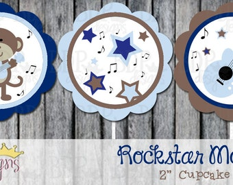 "Carter's Rockstar Monkey 2"" Cupcake Toppers - Starts with Set of 12"