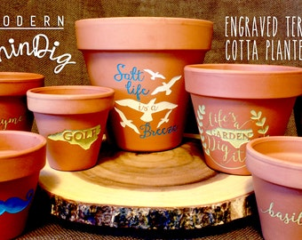 Custom Engraved Terra Cotta Planter - Personalized Clay Pots - Engraved Planter - Gardening Gift