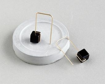Natural Stone Earrings - Geometric Arches Earrings - Gold Open Hoops - Delicate Earrings - Minimalist Earrings - Black Spinel Earrings -Gift