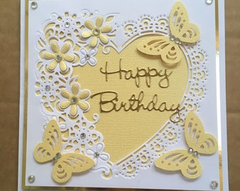 """Handmade Happy Birthday card delicate heart with yellow pearlescent flowers & butterflies embellished with faux crystals 6"""" square"""