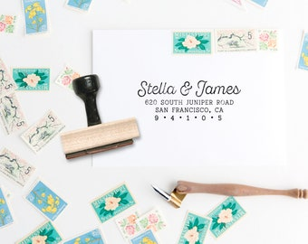 Modern Script Address Stamp - Distress Script Style Address Stamp - Simple Address Stamp - Custom Address Wedding Stamp - Wood
